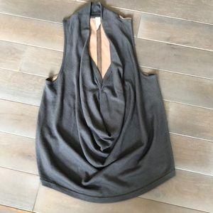 Draped merino & leather top Maggie Ward L
